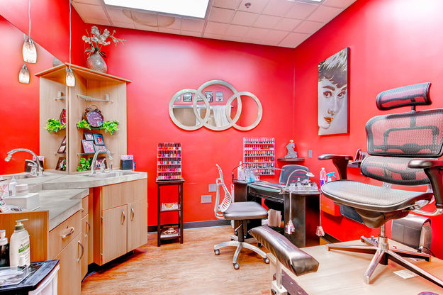 A beautiful nail tech studio in Sola Salon Studios in Centennial, Colorado.