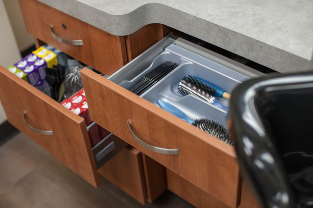 Beautiful well organized built-in drawers in studio