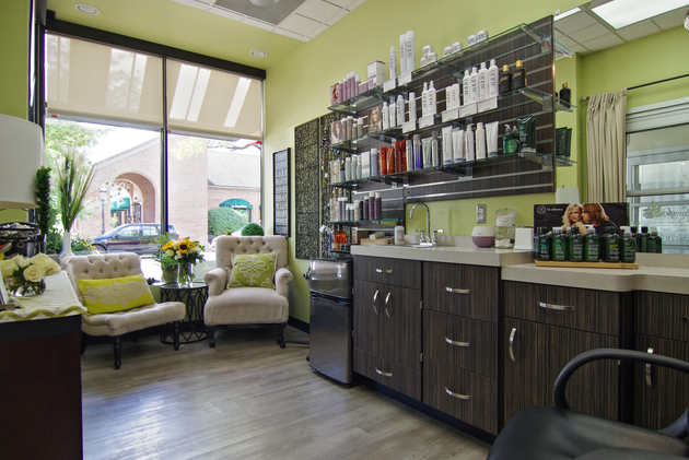 Colorful salon studio with large amounts of storage for all products