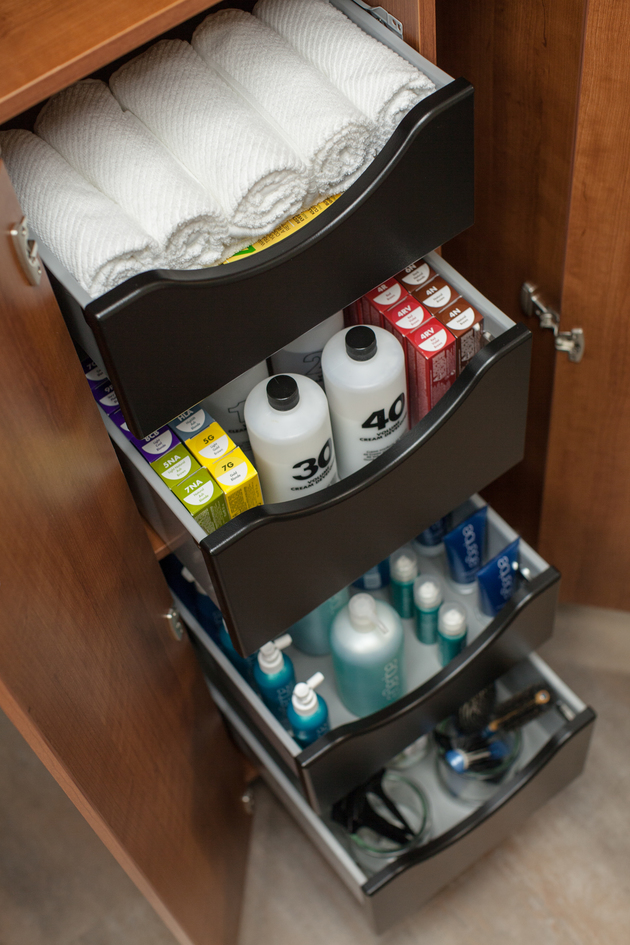 Well organized drawers inside salon suite