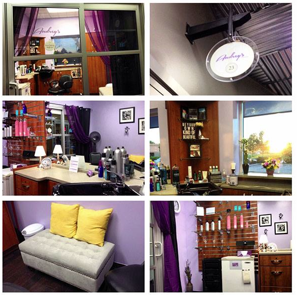Six photos of the interior of a well decorated studio
