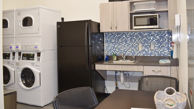Sola Salons has a break room with washers and dryers. Do your laundry here!
