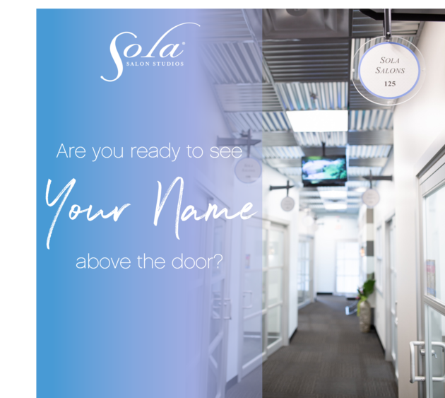 Sola hallway with sliding glass doors and business signage above each entryway