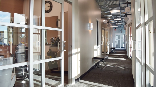 Spacious hallways at Sola Greenville. Own your own salon suite at Sola!