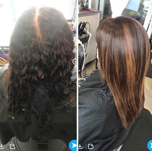 Before and After Keretherapy Brazilian Renewal Beat that summertime frizz, schedule now!!